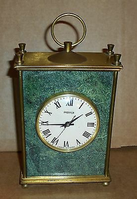 Vintage Molnija USSR Russia Brass & Granite Mantle Clockwork Clock - Working