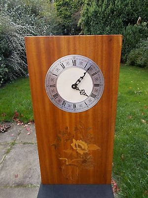 Vintage 60s/70s Inlaid Pine Quartz Wall Clock. G.W.O.