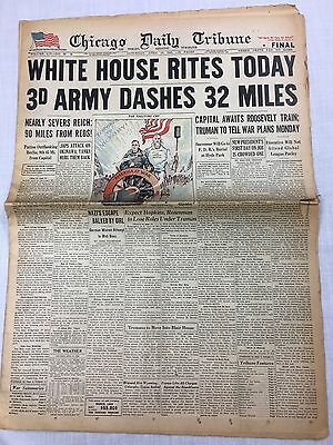 FDR RITES TODAY/3RD ARMY DASH CHICAGO DAILY TRIBUNE/APRIL 14, 1945 FDR  News