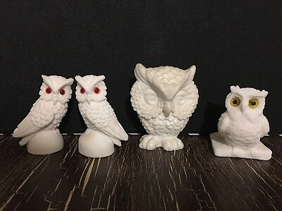Lot of 4 Carved Owl Figurines White Alabaster Marble Collectible Bird