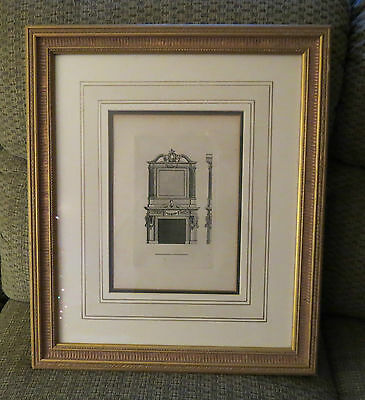 Old Fireplace And Mantel Scene Print Framed And Matted