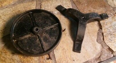 Vtg.cast Iron Base & Wheel With Hooks Threaded Centers For Rod,steampunk Project