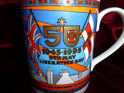 World War II LIBERATION OF GUERNSEY 50th Anniversary MUG Presented by Le Riches