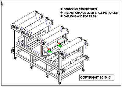 Carbon Fibre, Glass fibre PrePreg machine licence + CAD Plans, drawings.
