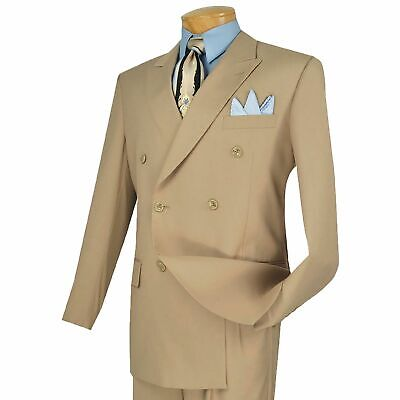 Vinci Men's Beige Double Breasted 6 Button Classic-Fit Suit NEW