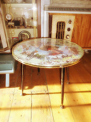 1950s ROUND COFFEE TABLE Dansette Legs WADDINGTONS HORSE PUZZLE TOP Retro Atomic