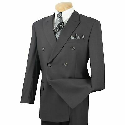 Men's Heather Gray Double Breasted 6 Button Classic Fit Suit NEW