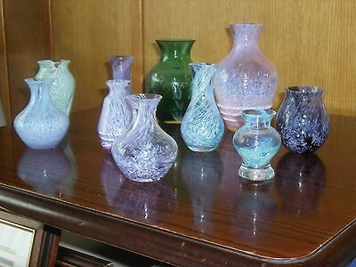A Beautiful Collection of Caithness Glass Vases In Various Shapes Colours Design