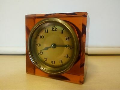 Vintage Wind Up Glass Desk Clock/Paper Weight . G.W.O.