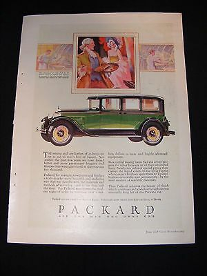 1928 Packard Color Full Page Advertisement Original Vintage Print Ad