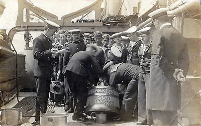 WWI  H.M.S.Diamond Rum Tot (The King God Bless Him)  Real Photographic Postcard