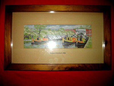 Chinese CANAL BOATS Silk Painting on Wood C.1900