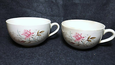 Two McCoy Pottery Coffee Cups Rose Design USA White