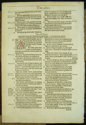 1572 2Nd Edition Bishops Folio Bible Leaf/rare/hand Colored Book Of Acts!