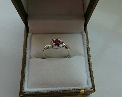 Beautiful F Hinds Boxed 9Ct White Gold Ruby Red Ring Diamond Set Size J Xmas **