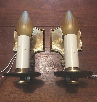 Brass European Sconces Vintage Antique Wired Pair