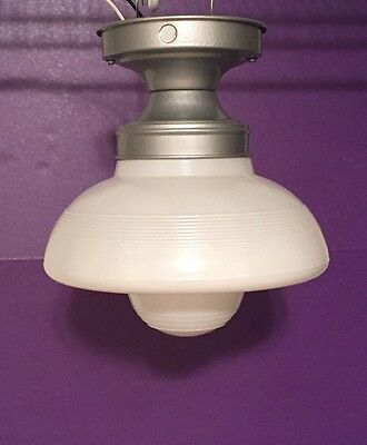 Large Flush Mount Fixture Vintage Antique Industrial  Great!!