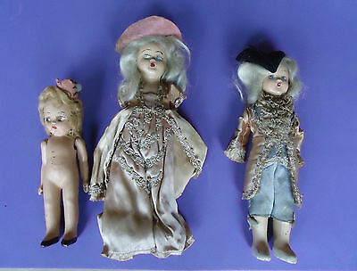 Small Vintage Bisque Doll Lot Of 3