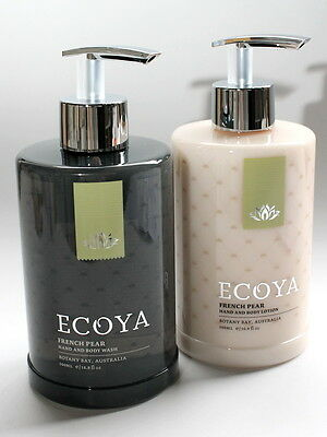 ECOYA Set of TWO 2 Hand Wash & Body Lotion 500ml Each Pump Packs French Pear