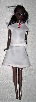 """Vintage 1966 MALIBU CHRISTIE 11.5"""" Barbie Doll African American w/ White Outfit"""