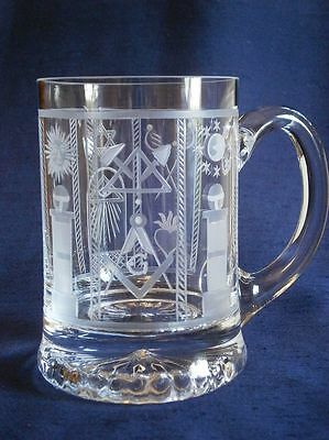 Half Pint Glass Tankard Wheel Engraved With Numberous Masonic Symbols