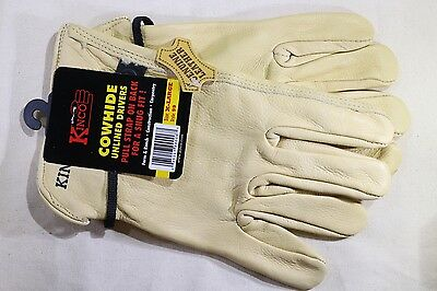 Kinco Unlined Grain Cowhide Leather Driver Work Gloves Ball Tape Pull XL X-Large