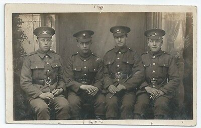 WW1 TR Training Reserve 4 Soldiers Group Photo Unused Real Photo Postcard