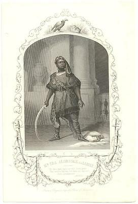 1855 Engraving IRA ALDRIDGE AS AARON African American Theater Actor In Costume