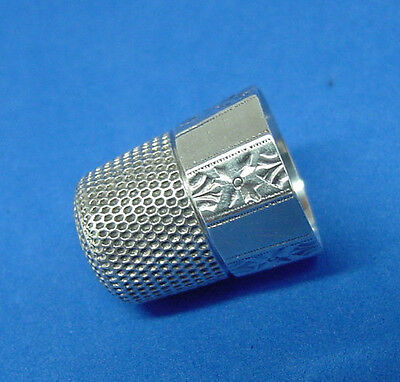 Antique 10 Panel Engraved Sterling Silver Thimble Simons Bros. 1880S Very Nice!