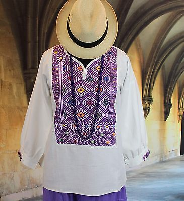 Lavender & White Tunic Huipil Chiapas Mexico, Hand Woven Mayan, Hippie, Cowgirl