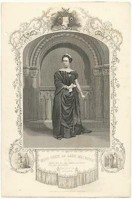 1855 Engraving ISABELLA GLYN AS LADY MACBETH Theater Actor In Costume