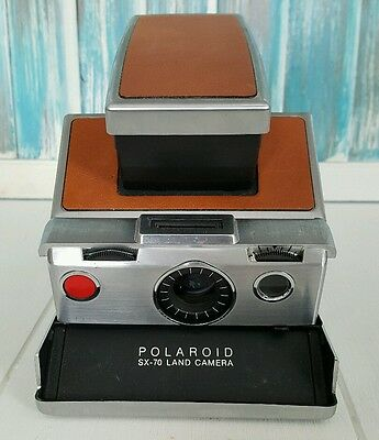 Polaroid SX-70 Instant Brown Leather Land Camera Parts or Repair AS IS