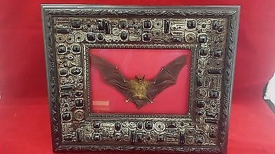 SALE*Taxidermy Bat in Jeweled Black hanging or standing Frame--pagan, witchcraft