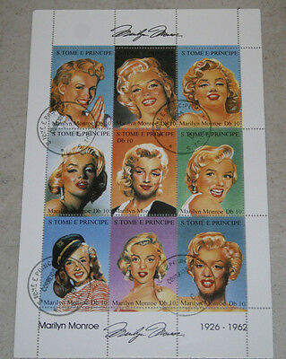 MARILYN MONROE  Stamp Sheet Cancelled first day of of issue