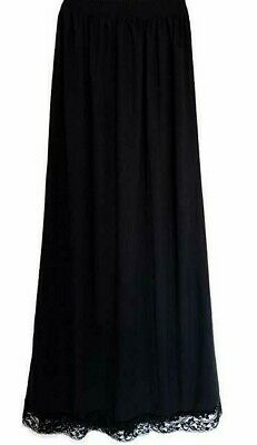 "LADY CAMILLE MAXI FULL LENGTH HALF SLIP 37""  WITH SLIT LACE TRIM size 1x ~ 4x"