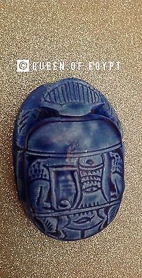 Handmade Large Ancient antique pharaoh egyptian scarab beetle with hieroglyphics