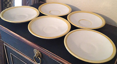 """Set of 5 Louisville (Kentucky) Stoneware 6.25"""" Yellow Trimmed / Striped Saucers"""