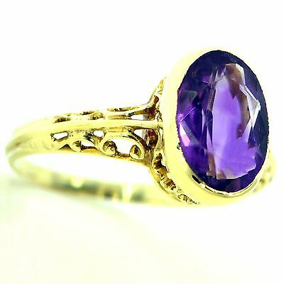 2 Ct Amethyst Solitaire Filigree Ring 14K Yellow Gold Natural Estate Vintage