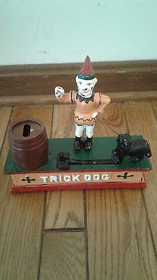 Reproduction Circus Clown TRICK DOG Cast Iron Mechanical Coin Bank with Box Nice