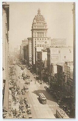 SAN FRANCISCO Market Street SPRECKELS / CALL BUILDING + Trams Unused RP PC 1920