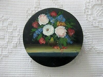 Vintage Hand Painted Tole Floral Still Life Wood Trinket Sewing Box