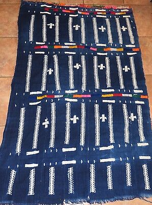 Vintage African,Dogon Indigo Resist Dyed Lace Pattern/Colorful Embroidery/36x56