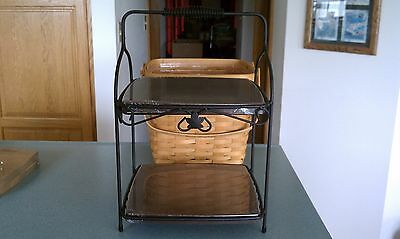 Longaberger Wrought Iron 2 tiered Server Stand with rich brown shelves NEW