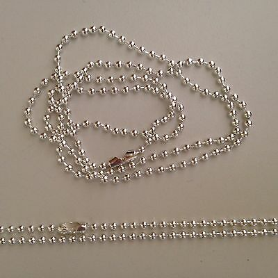 x 10 60cm Long 2.4mm Silver Plated Ball Chain Necklace