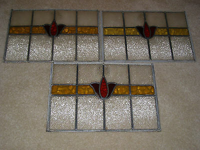 Antique Tulip Stained Glass Windows - Qty. 3