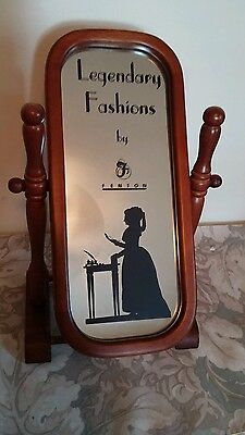 VTG Legendary Fashions by Fenton Tabletop Mirror & Stand / Ad Collectible