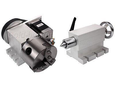 CNC 4th Axis Hollow Shaft Rotary Table Router Axis 3 Jaw Φ100mm Chuck+Tailstock