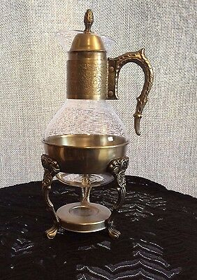 Vintage 1950s Silver Plate Glass Carafe Teapot Coffee Server Warmer