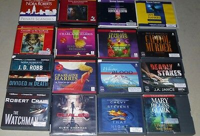 Lot of 16 Adult mystery/thriller Unabridged Audiobooks on CD: Nora Roberts, etc