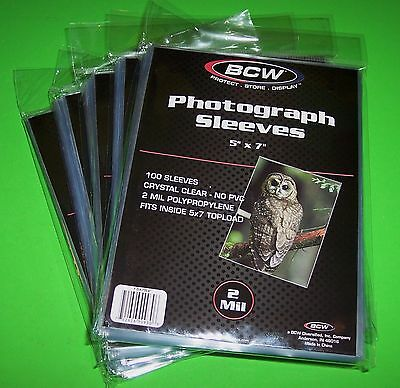 500 5X7 Photo Sleeves-Crystal Clear-Archival Safe-Acid Free-2 Mil Thick- By Bcw